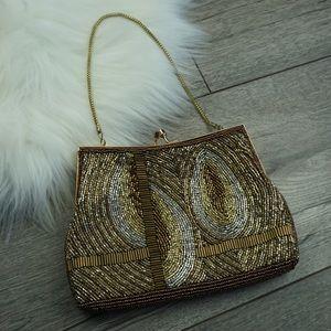 Vintage Gold Beaded Purse Evening Beaded Handbag